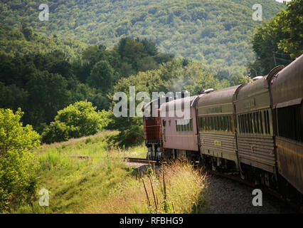 An old steam train. only used for tourism now, travels through the mountains of Tioga County, Pennsylvania, USA. - Stock Image