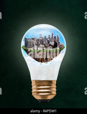Floating city of Seattle inside light bulb with copy space. Concept of eco-friendly, energy efficient city and idea of environmental conservation in m - Stock Image