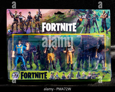 Action figures depicting characters from the game Fortnite - Stock Image