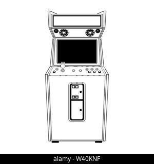 Retro arcade videogame classic console in black and white - Stock Image