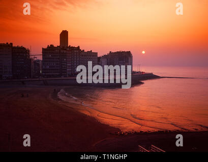 1980s Sunset,Ostend Seafront - Stock Image