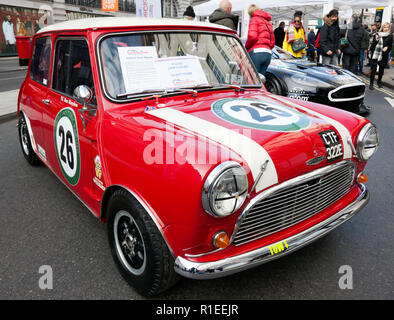 Three-quarter front view of Ron Maydons, 1965 Austin Mini Cooper S, on display at the Regents Street Motor Show 2018 - Stock Image