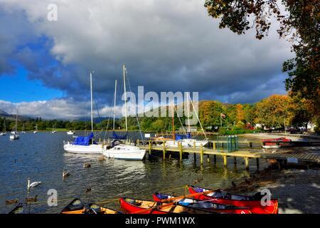 Waterhead marina,Ambleside,Lake district,Cumbria,England,UK - Stock Image