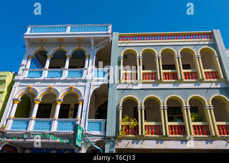 Preserved Sino-Portuguese buildings, Thalang Road, old town, Phuket town, Thailand - Stock Image