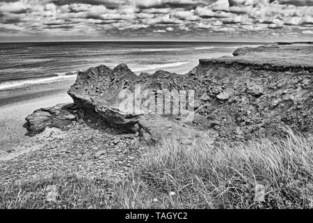 Red sandstone cliffs along the Gulf of St. Lawrence. Park Corner Prince Edward Island Canada Park Corner Prince Edward Island Canada - Stock Image