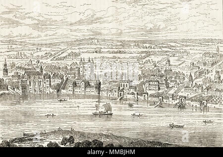 Cityscape of London from Temple Bar to Charing Cross in 1543 from Anton Van der Wyngarde's view. 19th century Victorian engraving circa 1878 - Stock Image