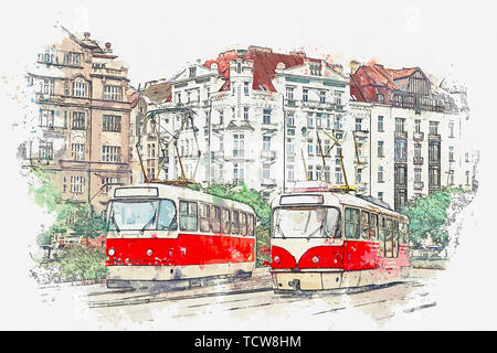 Watercolor sketch or illustration of traditional old-fashioned trams on a street in Prague in the Czech Republic. - Stock Image