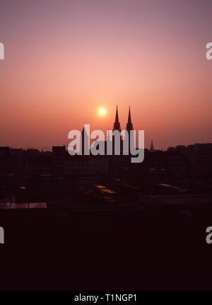 1990s Ostend,Skyline,Sunset,Church of Saint Peter and Saint Paul,Catholic Church,Archive Image - Stock Image