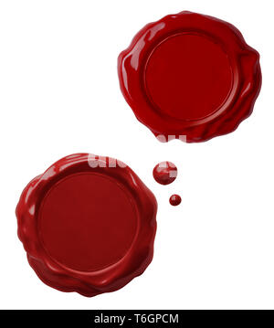 Old red wax seals collection isolated on white - Stock Image