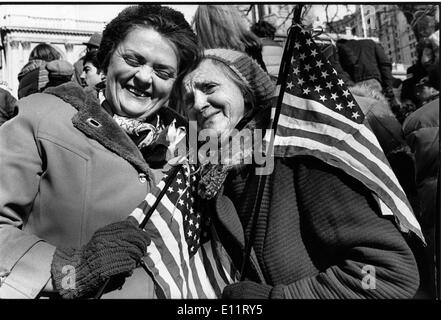 Nov 08, 1979 - Washington, District of Columbia, USA - Iranian Americans support USA during a protest against the Iran Hostage Crisis 444 Days. The hostage-takers, declaring their solidarity with other ''oppressed minorities'' and ''the special place of women in Islam,'' released 13 women and blacks in the middle of November 1979, leaving only one black and two women hostages. One more hostage, Richard Queen, was released in July 1980 after he was diagnosed with multiple sclerosis. The remaining 52 hostages were held captive until January 1981 - Stock Image