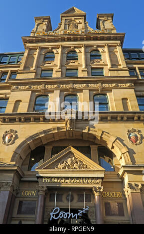 Manchester Corn and Grocery Exchange, Hanging Ditch, Central Manchester, City Centre, North West England, UK - Stock Image