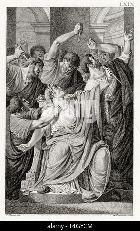The murder of Julius Caesar, Ludwig Gottlieb Portman, after Jacques Kuyper, etching,1801 - Stock Image