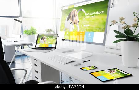 office responsive devices pet website 3d rendering - Stock Image