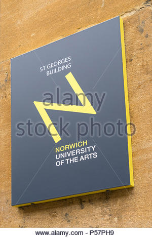 Sign and logo for Norwich University of the Arts (NUA) on St Georges Building, Norwich, Norfolk, UK. - Stock Image