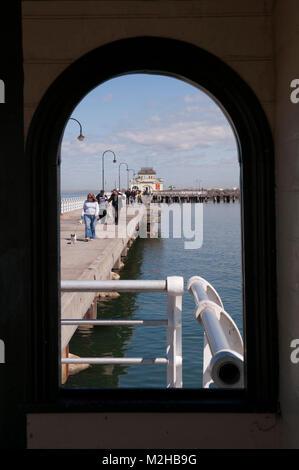 St Kilda pier, St Kilda Pavillion, St Kilda kiosk, St Kilda, Melbourne, Victoria, Australia - Stock Image