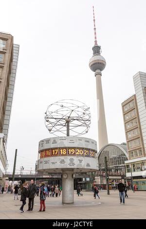 Germany, Berlin. Worldtime Clock at Alexanderplatz. Credit as: Wendy Kaveney / Jaynes Gallery / DanitaDelimont.com - Stock Image