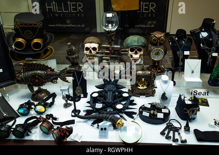 Jeweller's shop window in Middlesbrough displaying jewellery and ornaments associated with the Goth sub culture based in nearby Whitby - Stock Image