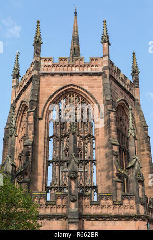 A view of the historic ruin of St. Michaels - part of the Coventry Cathedral buildings that were destroyed by the Luftwaffe during the Second World Wa - Stock Image