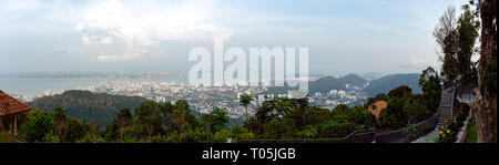 High up panoramic view from the Sky walk view point over looking Penang and George Town, Malaysia. - Stock Image