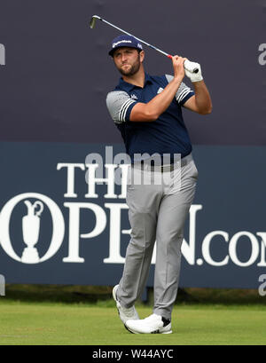 Portrush, County Antrim, Northern Ireland. 19th July 2019. The 148th Open Golf Championship, Royal Portrush, Round Two ; Jon Rahm (ESP) hits a long iron from the first tee Credit: Action Plus Sports Images/Alamy Live News - Stock Image
