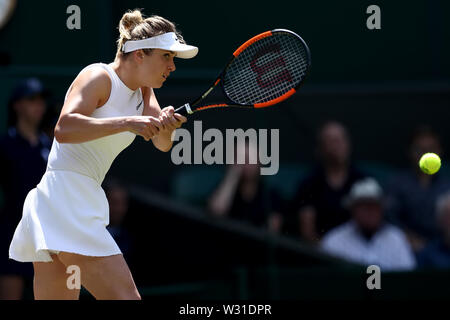 Wimbledon, UK. 11th July 2019, The All England Lawn Tennis and Croquet Club, Wimbledon, England, Wimbledon Tennis Tournament, Day 10; Elina Svitolina (UKR) with a backhand to Simona Halep (ROM) Credit: Action Plus Sports Images/Alamy Live News - Stock Image