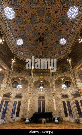 Porto, Portugal, August 15, 2017: Arab Room in the Bolsa Palace, built between 1862 and 1880 by Goncalves e Sousa - Stock Image