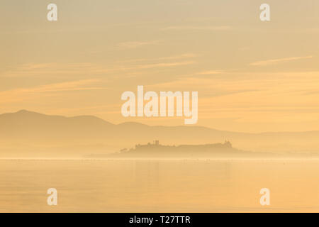 Beautiful view of Trasimeno lake at sunset with birds on water and Castiglione del Lago town. - Stock Image