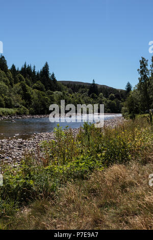 River Dee on a sunny, warm day around Ballater, Aberdeenshire, Scotland, UK. - Stock Image