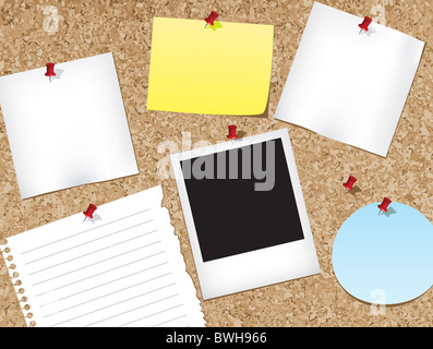 Various items pinned to a cork bulletin board.vector illustration - Stock Image