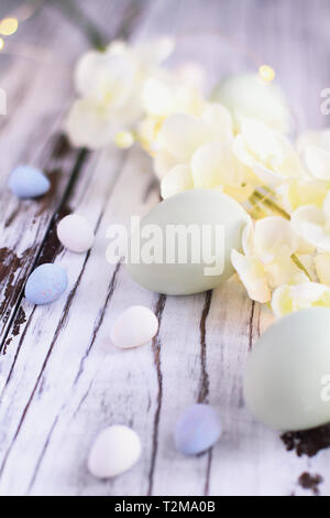 Natural colored Easter eggs, malt candy covered chocolate eggs, and flower blossoms over a rustic white wood table / background. - Stock Image