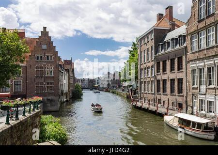 Ghent Historical Buildings Lys River Belgium - Stock Image