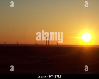 Silhouette Of Wind Turbines At Sunset - Stock Image