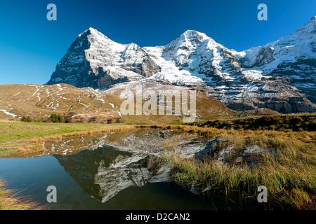 Eiger an Monch mountain panorama from kleine Scheidegg, Grindelwald, Switzerland - Stock Image