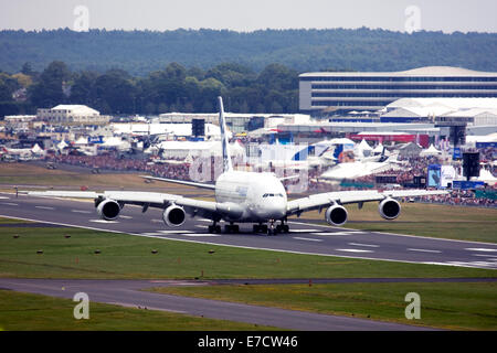 Airbus A380-841 at Farnborough International Airshow 2014 - Stock Image