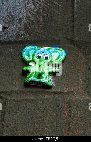 Schöneberg-Berlin. Berger H Elefant  Miniature 3-D street art on graffiti covered wall. Colourful elephant - part of project  for ALS sufferers - Stock Image
