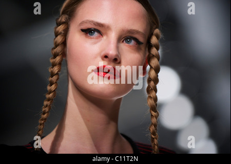 Models exhibit the PPQ autumn 2011 collection at the BFC Showspace at Somerset House in London on 18 February 2011. - Stock Image