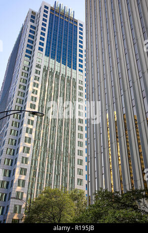CHARLOTTE, NC, USA-10/30/18: Fifth Third Center and 400 South Tryon skyscrapers in downtown. - Stock Image