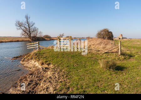 river thurne on the norfolk broads - Stock Image