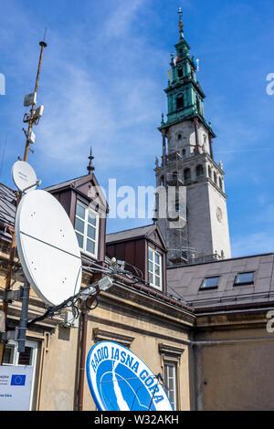 The radio station of the Sanctuary of Jasna, Czestochowa, Poland 2018. - Stock Image