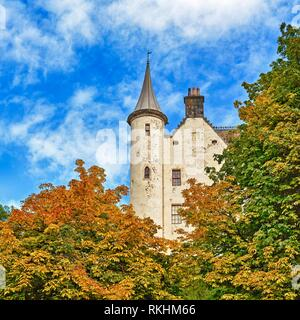 Dunrobin Castle, tower in the east facade, Golspie, Highland, Scotland, Great Britain - Stock Image