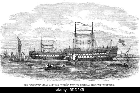 PRISON HULKs The 'HMS Defence' prison hulk at right with the 'HMS Unite' convict hospital ship in the background off Woolwich about 1850 - Stock Image