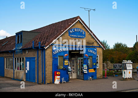 Aidensfield garage and Scripps funeral services used in the filming of the ITV series Heartbeat. - Stock Image