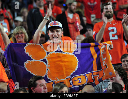 Glendale, AZ, USA. 11th Jan, 2016. Clemson fans during to the 2016 College Football Playoff National Championship - Stock Image