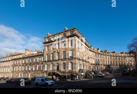 Georgian buildings and Consulate General of Ireland in Edinburgh New town at Lynedoch Street and Randolph Crescent , Scotland, UK. - Stock Image