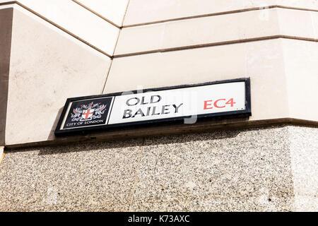 Old Bailey Road Sign, Old Bailey sign, Old Bailey London, Old Bailey Road sign London, Old Bailey sign London, Old Bailey sign London UK England - Stock Image