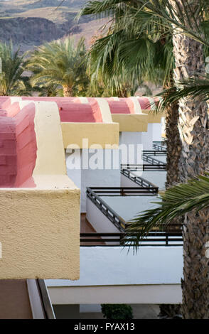 A row of white houses with balconies in Crete. - Stock Image