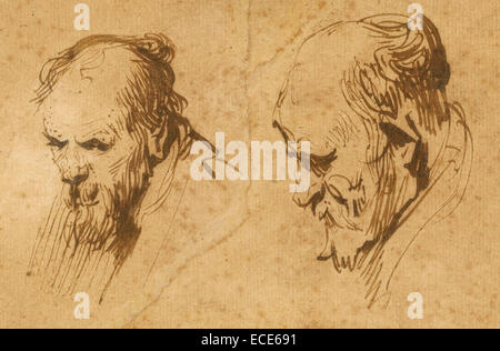 Two Studies of the Head of an Old Man; Rembrandt Harmensz. van Rijn, Dutch, 1606 - 1669; 1626; Pen and brown ink, - Stock Image