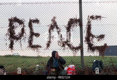 Greenham Common Women's Peace Camp where a fence was erected at America base in Berkshire where trident missiles were based - Stock Image