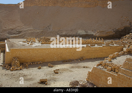 Remains of Temple to the Left of Temple of Queen Hapshetsut Thebes Egypt - Stock Image