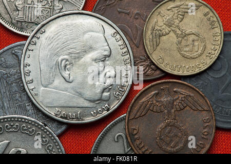 Coins of Nazi Germany. German President Paul von Hindenburg (1847 - 1934) depicted in the German two Reichsmark - Stock Image